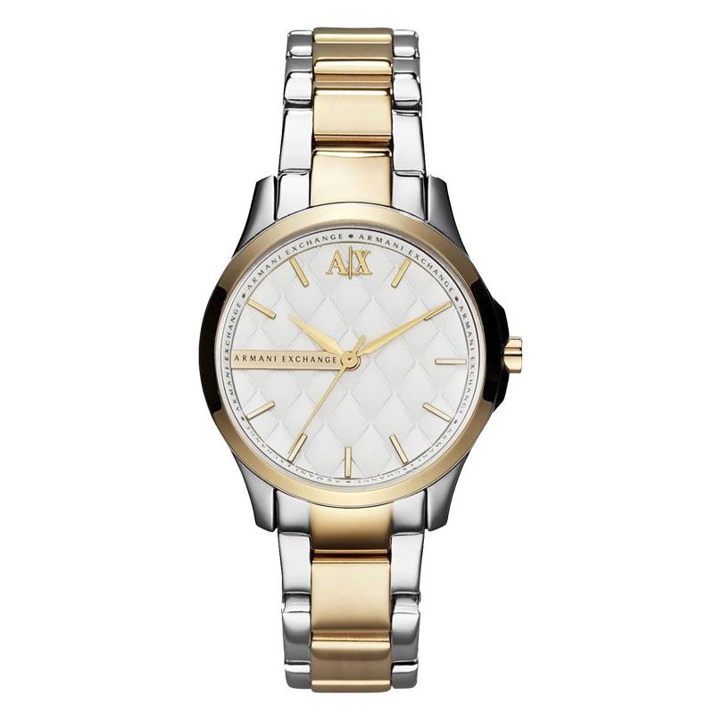 美國百分百【Armani Exchange】配件 AX 手錶 腕錶 金屬 菱格 女錶 雙色 阿曼尼 不鏽鋼 E372