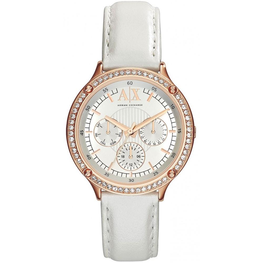美國百分百【Armani Exchange】配件 AX 手錶 腕錶 金屬 皮質 女錶 鑽 阿曼尼 金錶框 三眼 E374