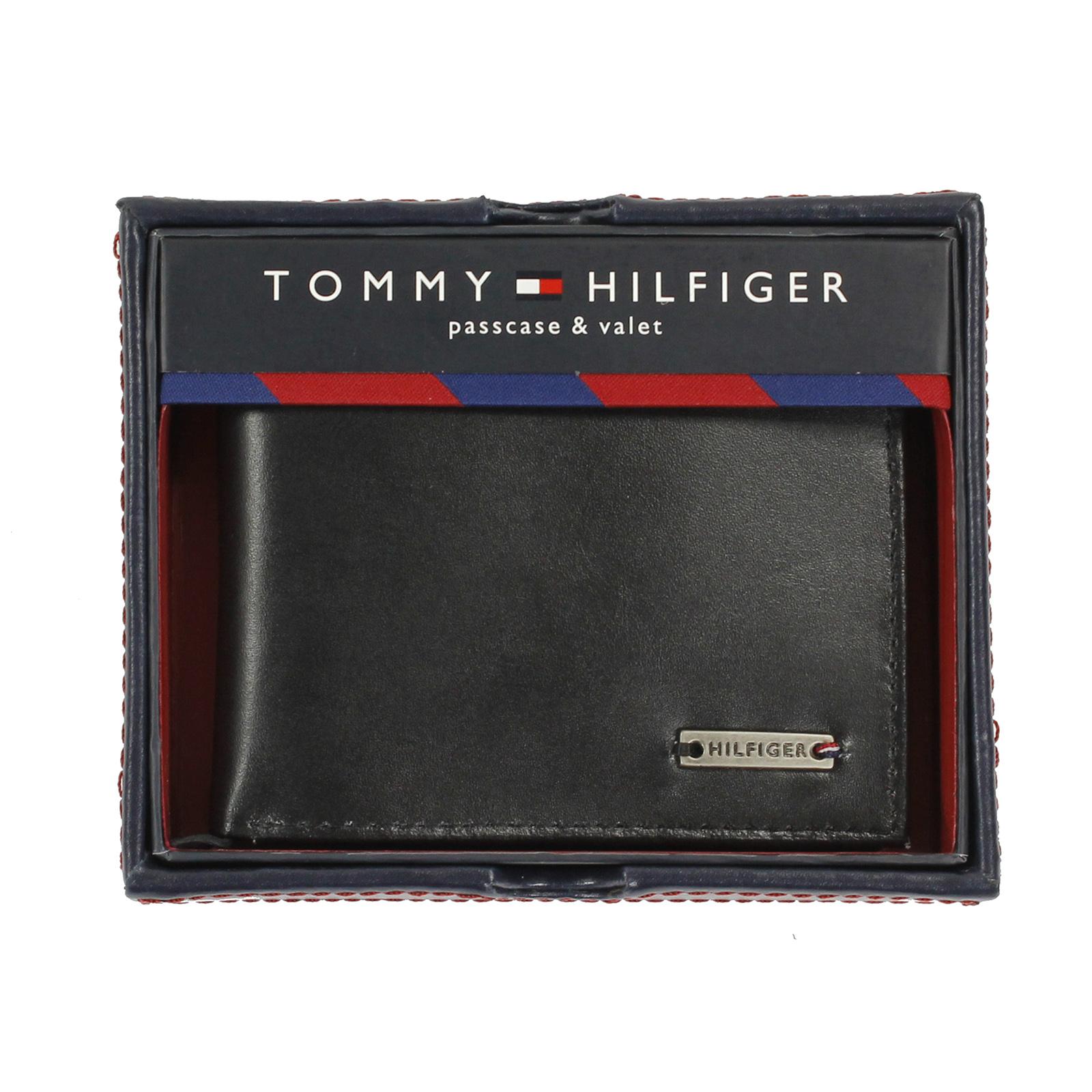 美國百分百【全新真品】Tommy Hilfiger 皮夾 TH 男生 錢包 皮包 短夾 禮盒 鈔票夾 黑色 E377