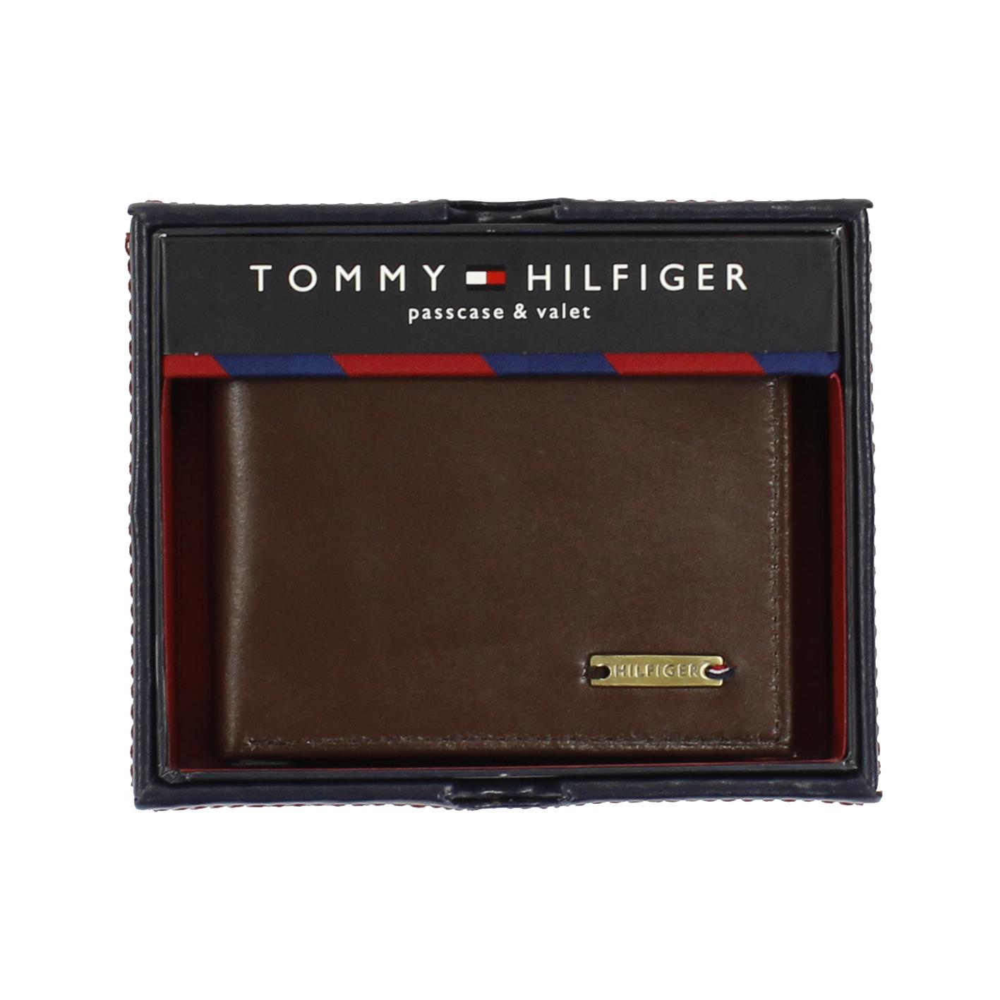 美國百分百【全新真品】Tommy Hilfiger 皮夾 TH 男生 錢包 皮包 短夾 禮盒 鈔票夾 咖啡色 E377