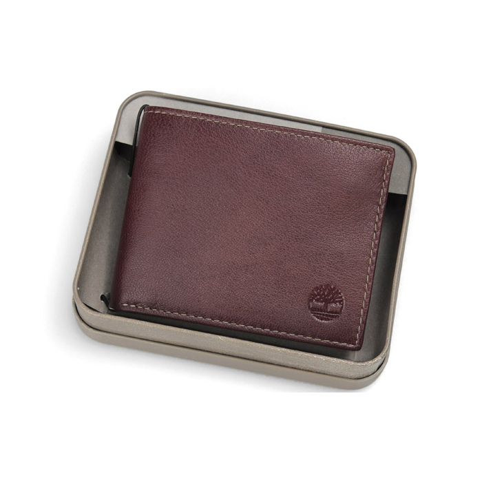 美國百分百【全新真品】Timberland 皮夾 短夾 錢包 皮包 咖啡 真皮 經典 證件 鈔票夾 鐵盒 男用 B379