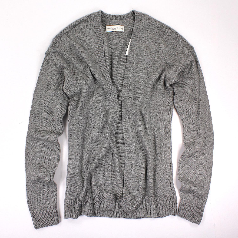 美國百分百【全新真品】Abercrombie & Fitch 外套 AF 針織 長袖 開襟 麋鹿 灰 S號 女 E442