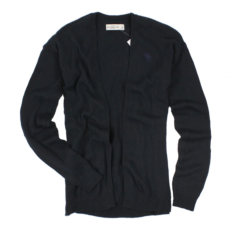 美國百分百【全新真品】Abercrombie & Fitch 外套 AF 針織 長袖 開襟 麋鹿 深藍 S 女 E442