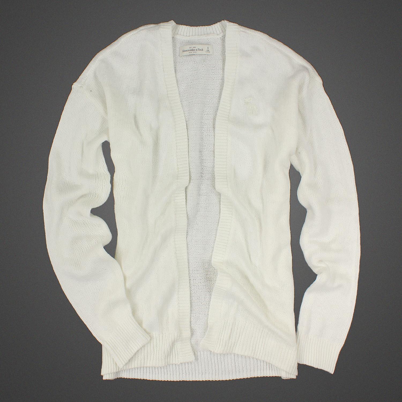 美國百分百【全新真品】Abercrombie & Fitch 外套 AF 針織 長袖 開襟 麋鹿 白 S號 女 E442