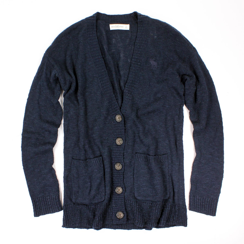 美國百分百【Abercrombie & Fitch】外套 AF 針織 鈕扣 長袖 開襟 麋鹿 藏藍 S號 女 E443