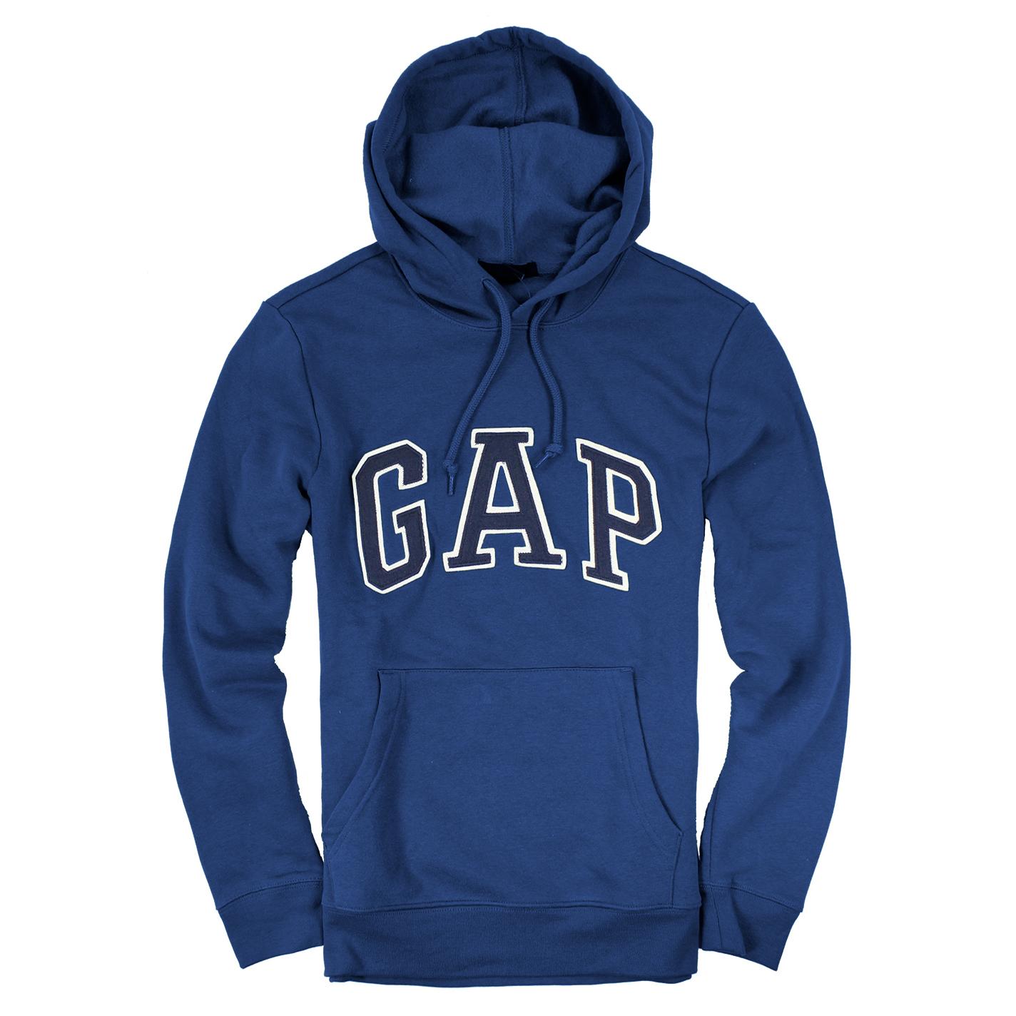 美國百分百【全新真品】GAP 帽T 上衣 外套 長袖 連帽 LOGO 貼布 青藍 現貨 男衣 E461
