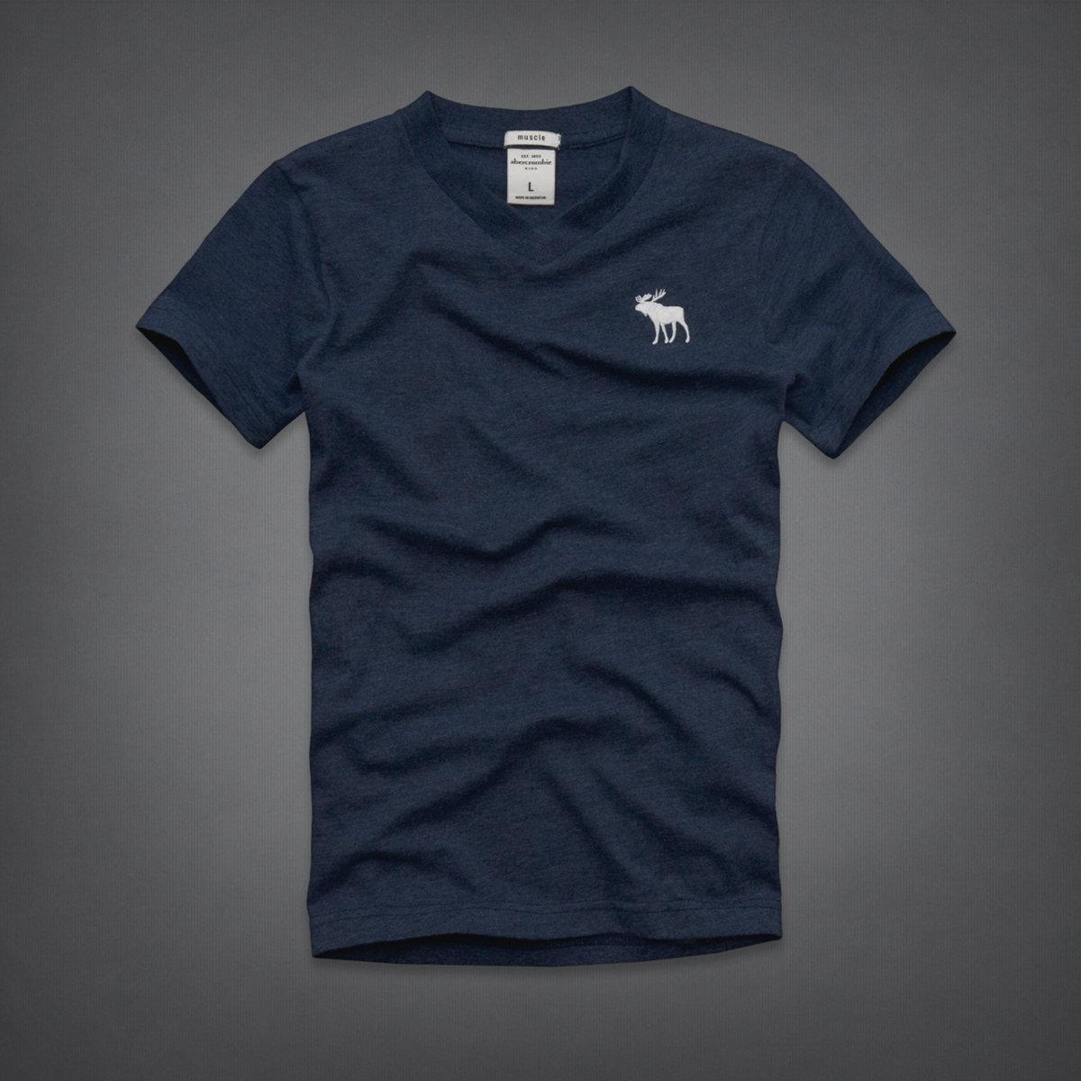 美國百分百【全新真品】Abercrombie & Fitch T恤 AF 短袖 T-shirt 麋鹿 深藍 V領 薄 男 女 Kids S號