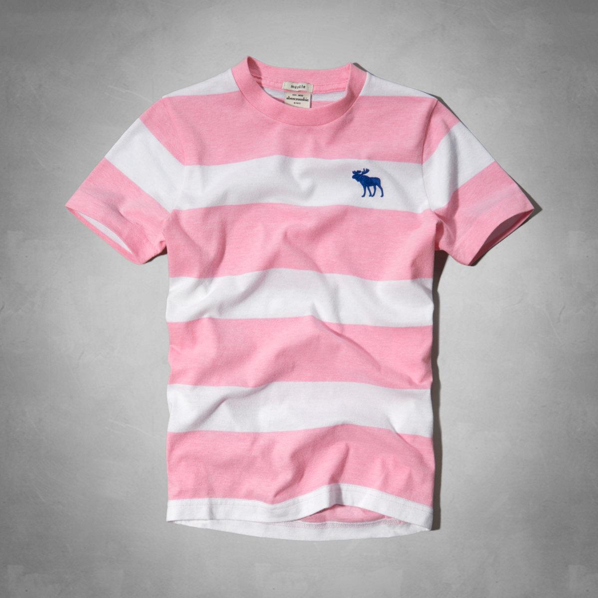 美國百分百【全新真品】Abercrombie & Fitch T恤 AF 短袖 T-shirt 麋鹿 粉紅 條紋 Logo 男 女 Kids S號