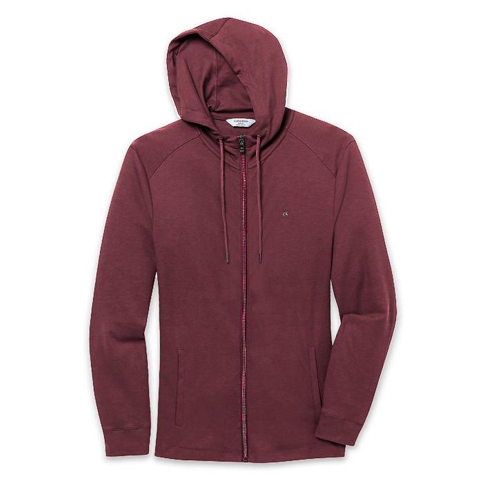 美國百分百【全新真品】Calvin Klein 外套 CK 夾克 薄 連帽 合身 酒紅色 男 XS S號 E450
