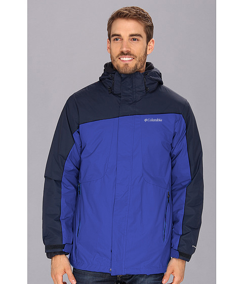 美國百分百【全新真品】Columbia 外套 夾克 連帽 哥倫比亞 登山 滑雪 深藍 兩件式 防水 男 S號 E482