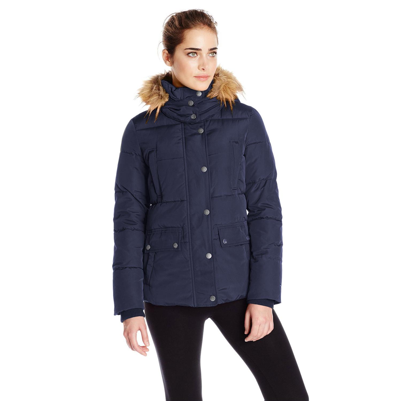 美國百分百【全新真品】Tommy Hilfiger 外套 TH 保暖 外套 連帽 深藍 專櫃 女 S號 E495