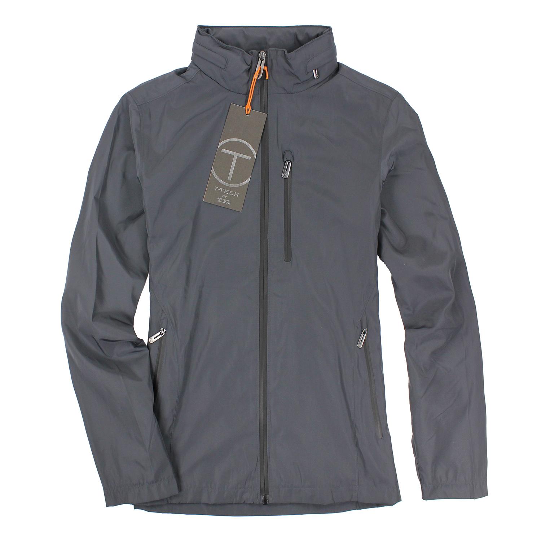 美國百分百【全新真品】TUMI 外套 風衣 連帽 灰色 T-tech 防風 防水 透氣 輕巧 男 S號 E510