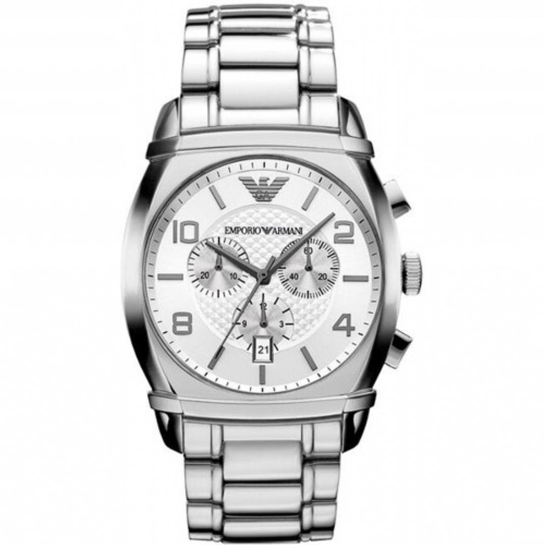 美國百分百【Emporio Armani】配件 手錶 腕錶 男錶 石英 品味 時尚 不鏽鋼 三眼 計時 銀色 E531