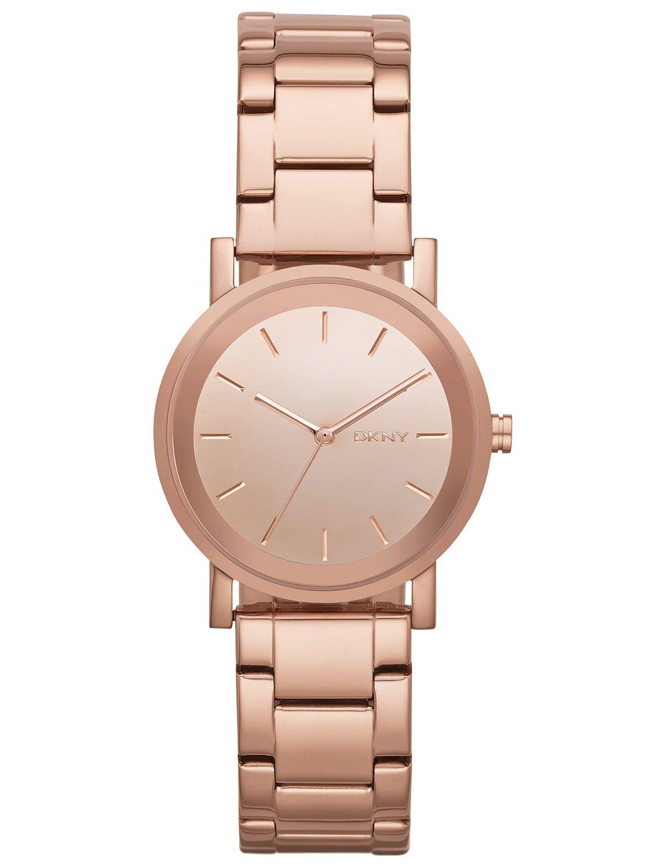 美國百分百【全新真品】DKNY 配件 手錶 腕錶 女錶 石英 品味 時尚 設計 個性 不鏽鋼 玫瑰金 E532