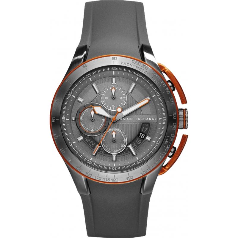 美國百分百【Armani Exchange】配件 AX 手錶 腕錶 不鏽鋼 運動 三眼 計時 阿曼尼 橡膠錶帶 E535