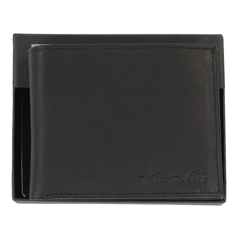 美國百分百【全新真品】Kenneth Cole 皮夾 KC 短夾 黑 真皮 二折 皮革 質感 鈔票 專櫃 男 E537
