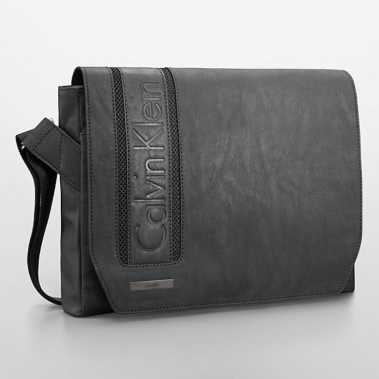 美國百分百【全新真品】Calvin Klein CK 公事包 電腦包 郵差包 肩背包 皮質 上課 商務 黑色 E550