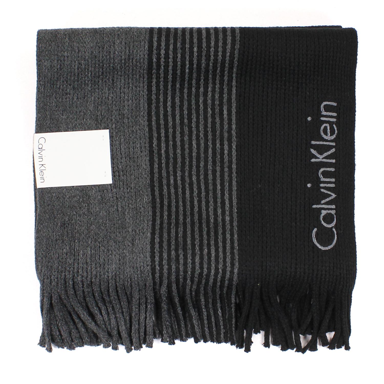 美國百分百【全新真品 】Calvin Klein 圍巾 CK 披肩 披巾 藍 駝色 條紋 粗針織 logo 男 E554