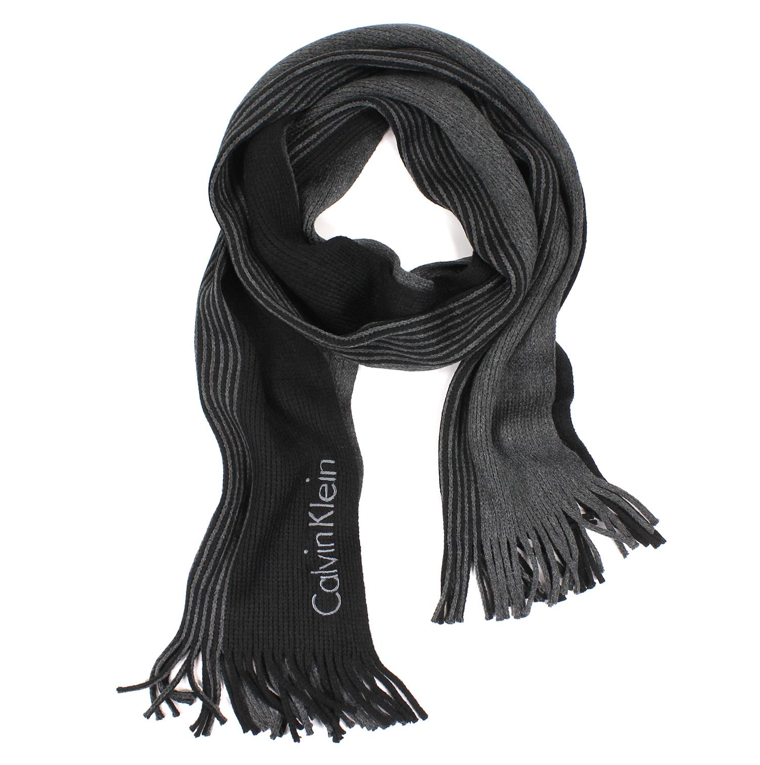 美國百分百【全新真品 】Calvin Klein 圍巾 CK 披肩 披巾 黑 灰 條紋 粗針織 logo 男 E554