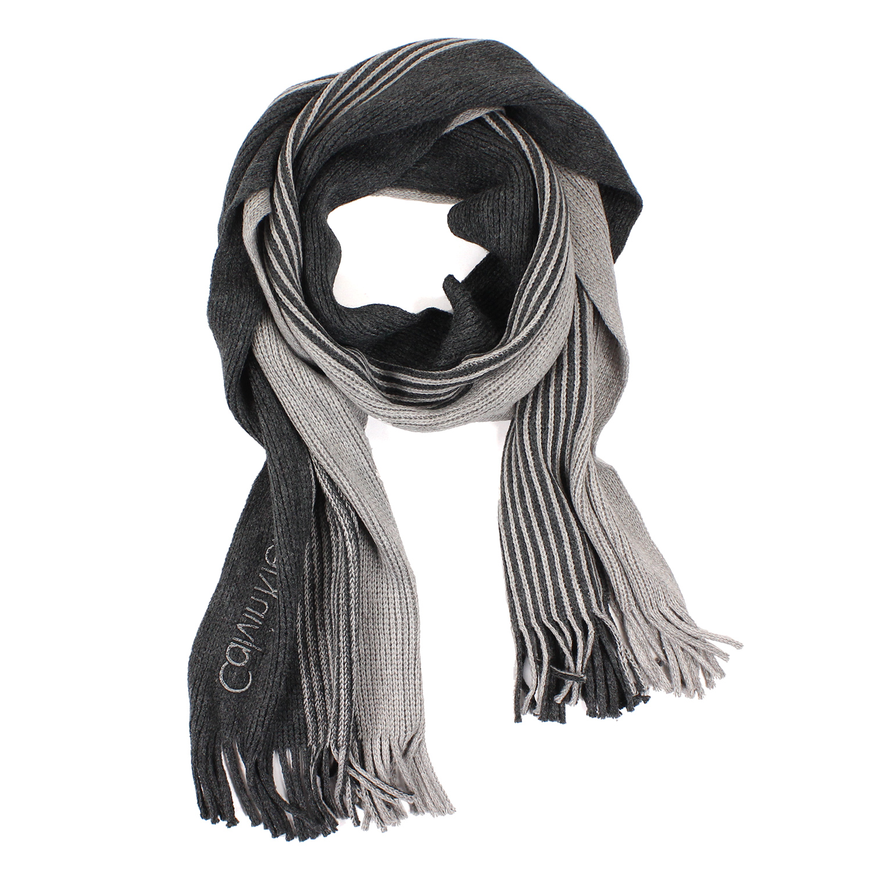 美國百分百【全新真品 】Calvin Klein 圍巾 CK 披肩 披巾 灰 淺灰 條紋 粗針織 logo 男 E554