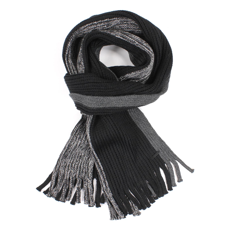 美國百分百【全新真品 】Calvin Klein 圍巾 CK 披肩 披巾 黑 灰 混色 條紋 粗針織 毛線 男 E555