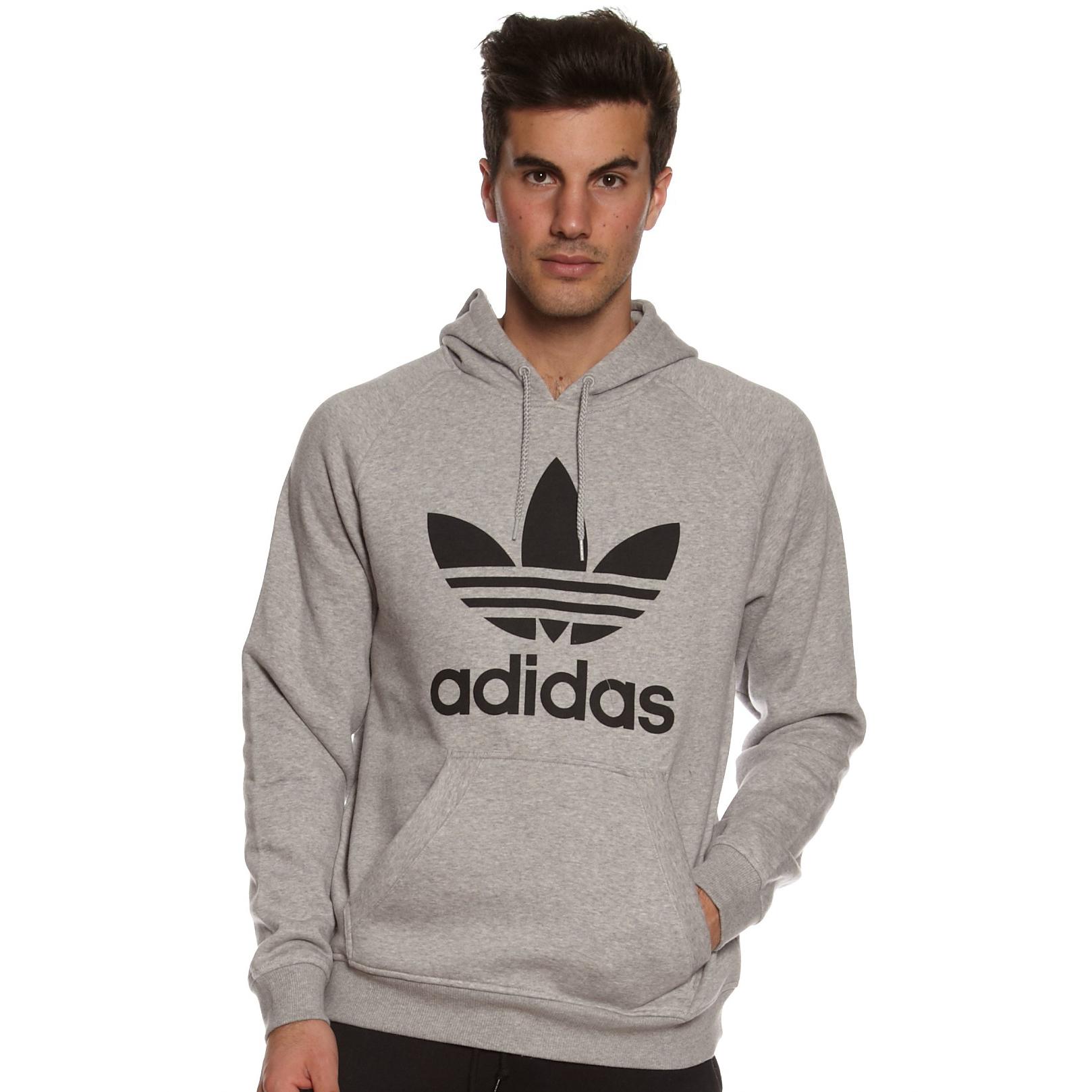 美國百分百【全新真品】Adidas 愛迪達 男 長袖 三葉草 連帽 T恤 T-shirt 上衣 灰色 S M號 E420