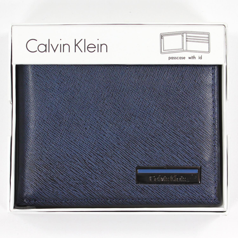 美國百分百【全新真品】Calvin Klein 皮夾 CK 短夾 深藍色 真皮 二折 皮革 質感 鈔票 男 A682