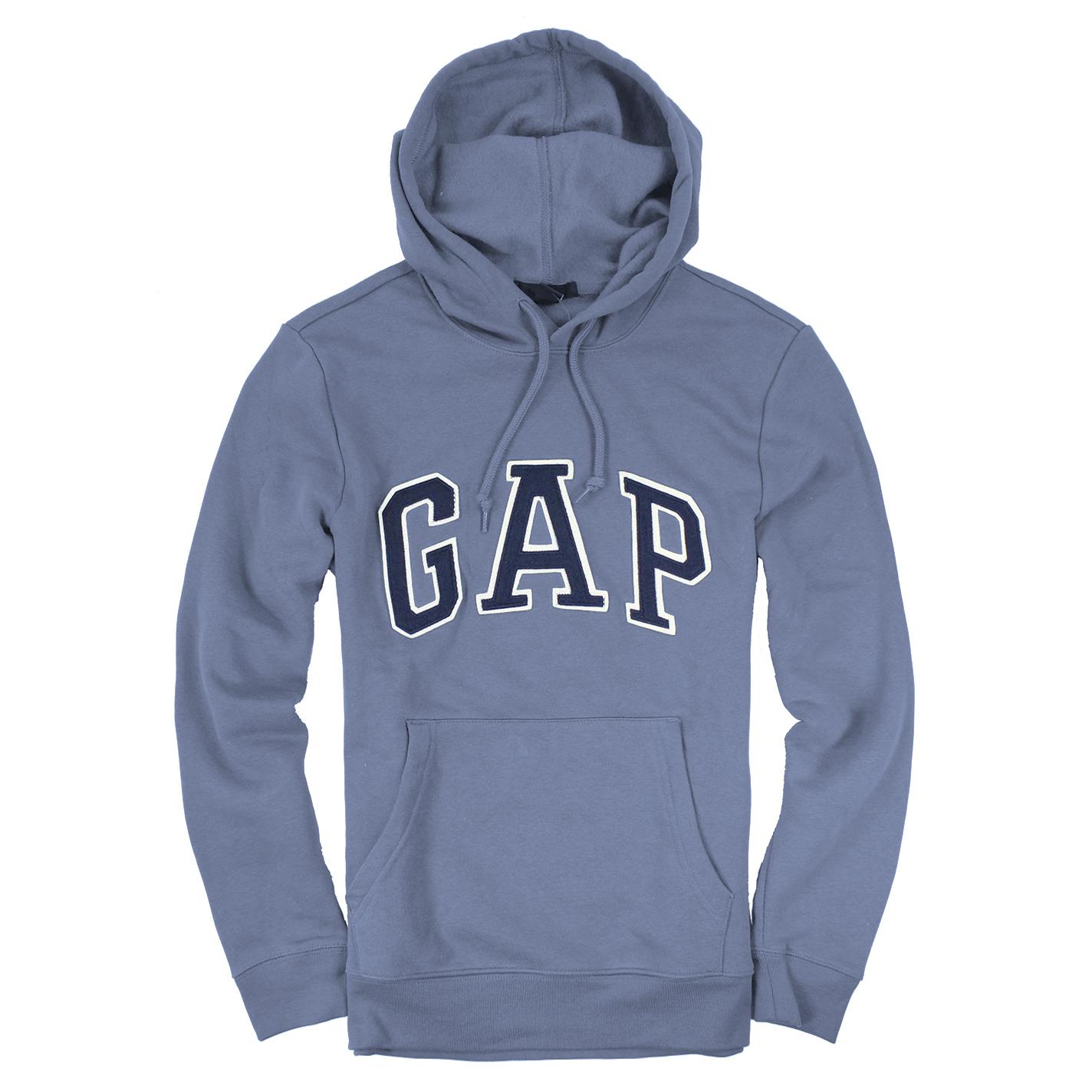 美國百分百【全新真品】GAP 帽T 上衣 外套 長袖 連帽 LOGO 貼布 現貨 男 XS S M號 灰色 E461