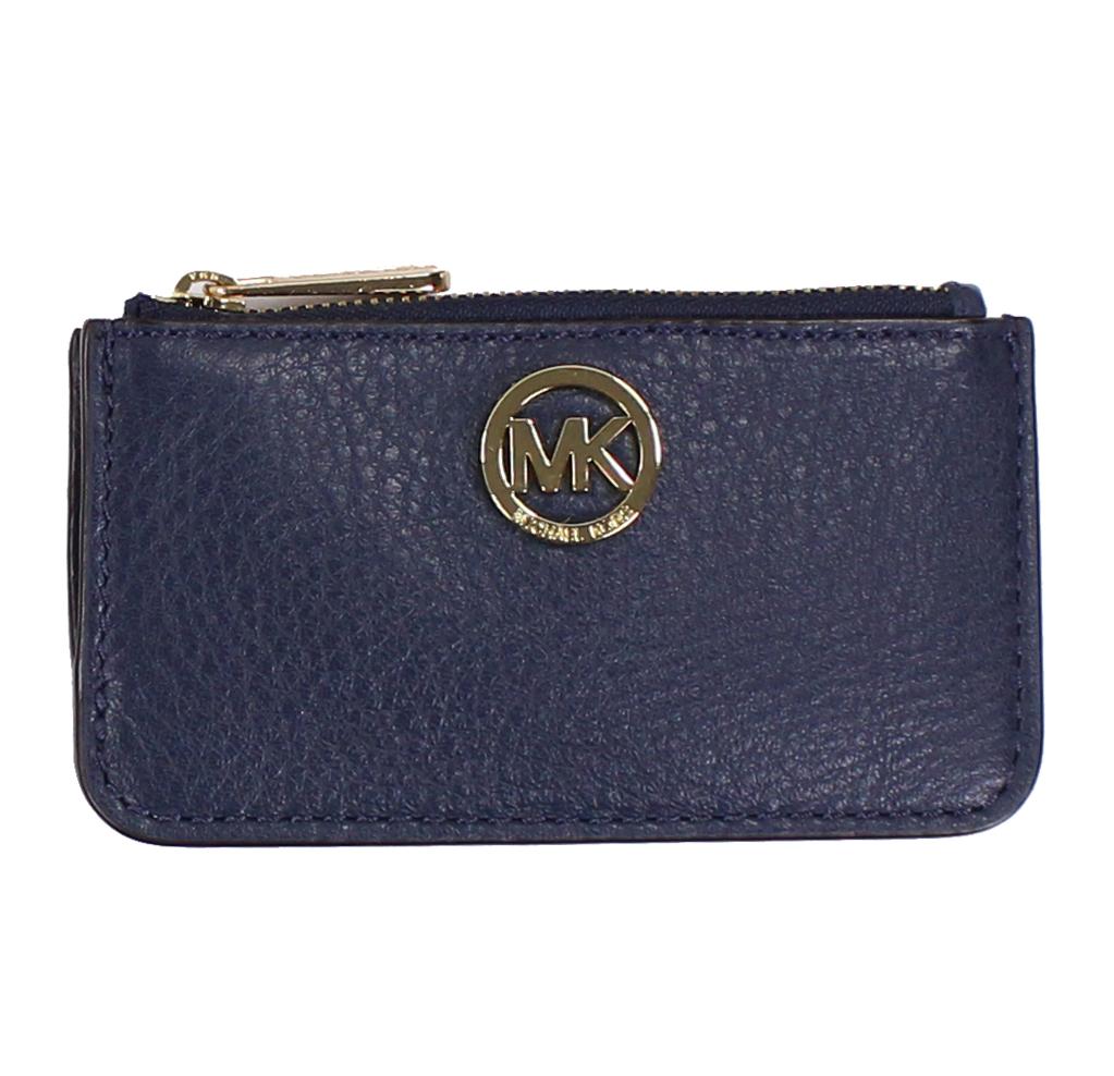 美國百分百【全新真品】MICHAEL KORS 女包 皮包 皮質 小包 MK 扁包 精品 皮夾 零錢包 深藍色 E650