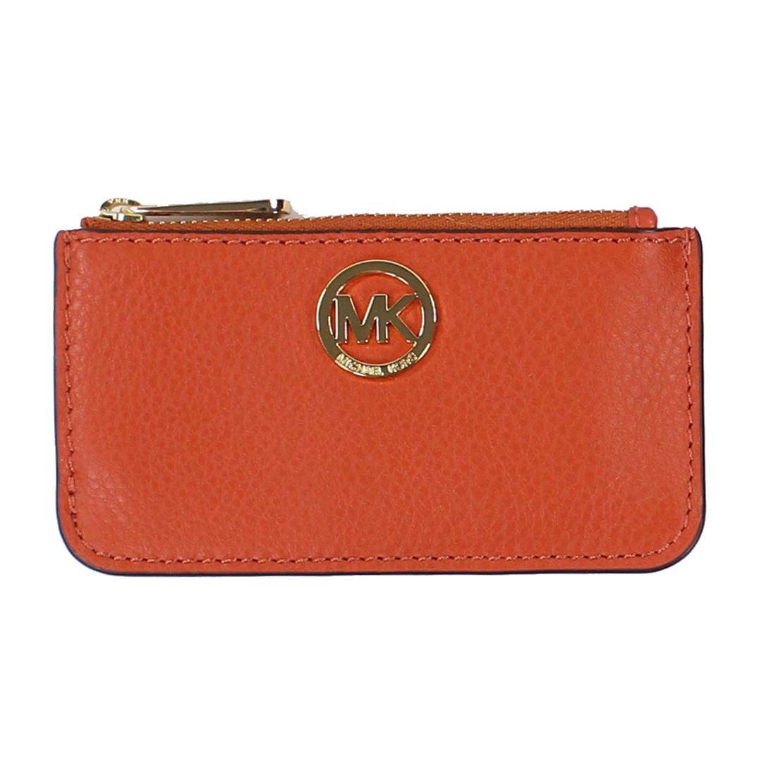 美國百分百【全新真品】MICHAEL KORS 女包 皮包 皮質 小包 MK 扁包 精品 皮夾 零錢包 紅橘色 E650