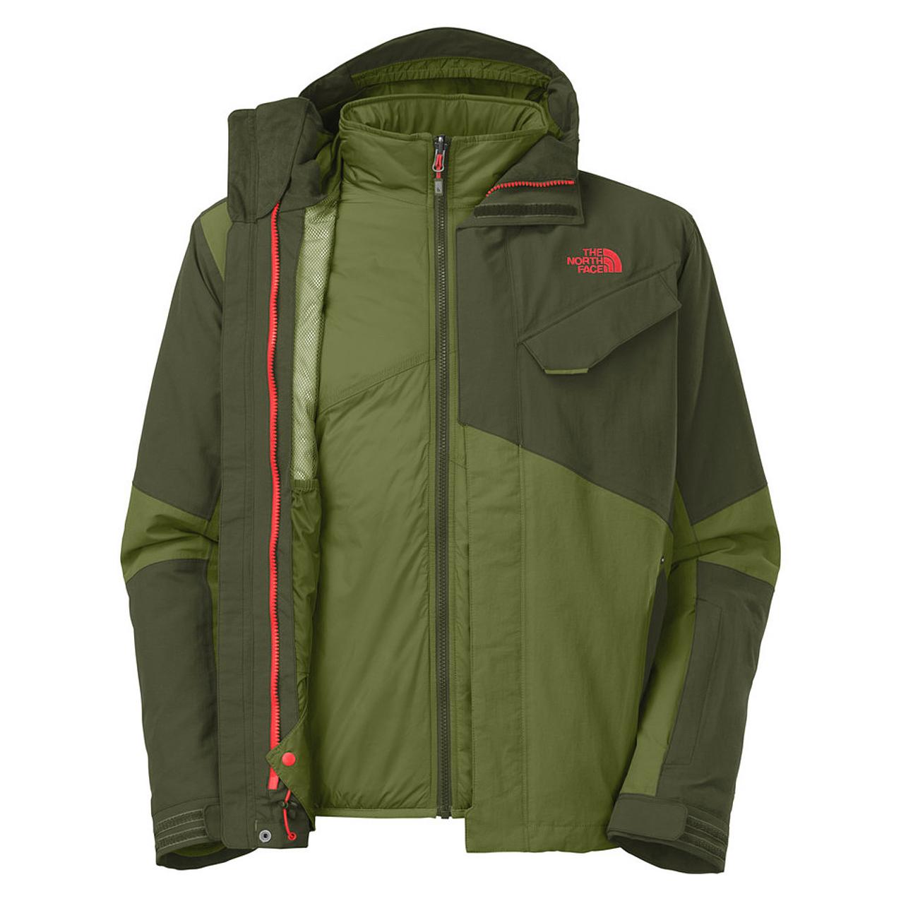 美國百分百【The North Face】外套 TNF 雪衣 夾克 Hyvent 兩件式 防寒 滑雪 綠色 M E669