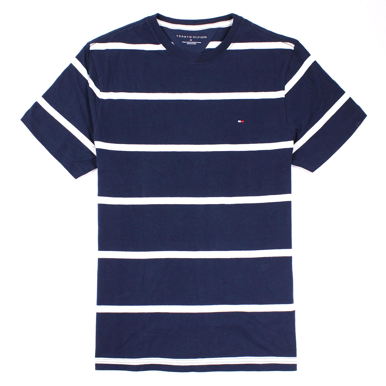 美國百分百【全新真品】Tommy Hilfiger T恤 TH 男 圓領 T-shirt 短袖 條紋 深藍色 M號 E675