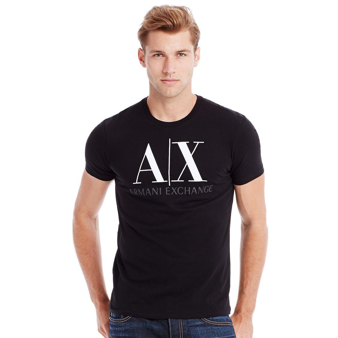 美國百分百【全新真品】Armani Exchange T恤 AX 短袖 上衣 T-shirt 黑色 XS號 E677