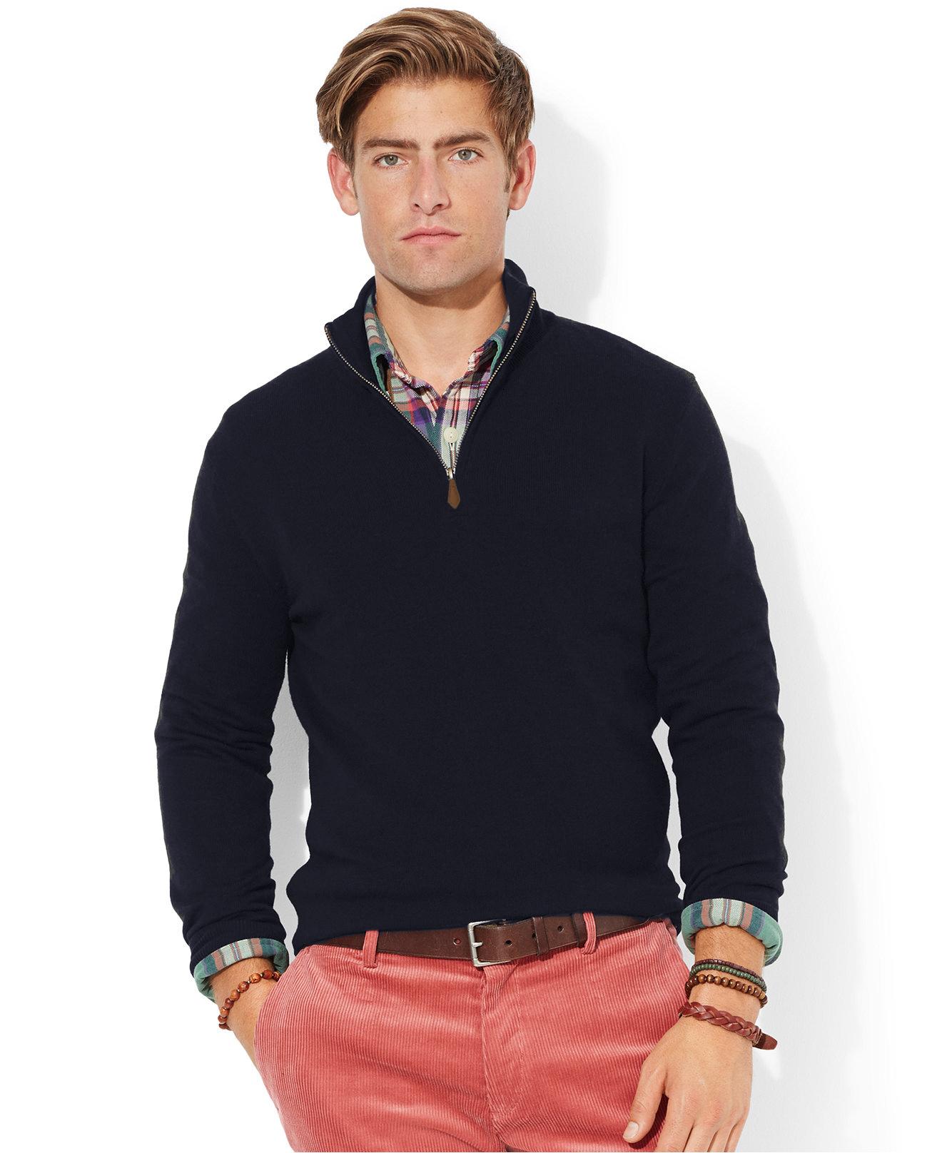 美國百分百【全新真品】Ralph Lauren 線衫 針織衫 polo 長袖 上衣 棉質 深藍 RL 半拉 L B027