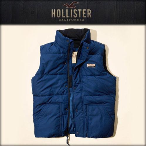 美國百分百【全新真品】Hollister Co. HCO 男 海鷗 背心 鋪棉 外套 無袖 刷毛 藍色 M號 E703