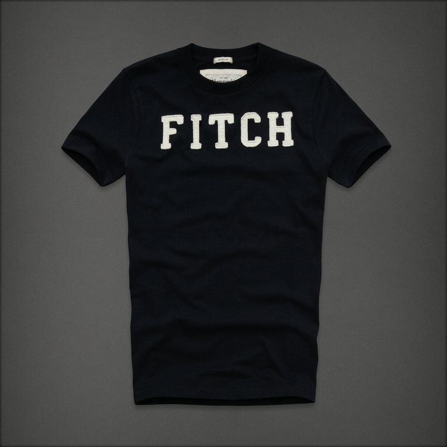 美國百分百【Abercrombie & Fitch】T恤 AF 短袖 T-shirt 麋鹿 FITCH 深藍 E744