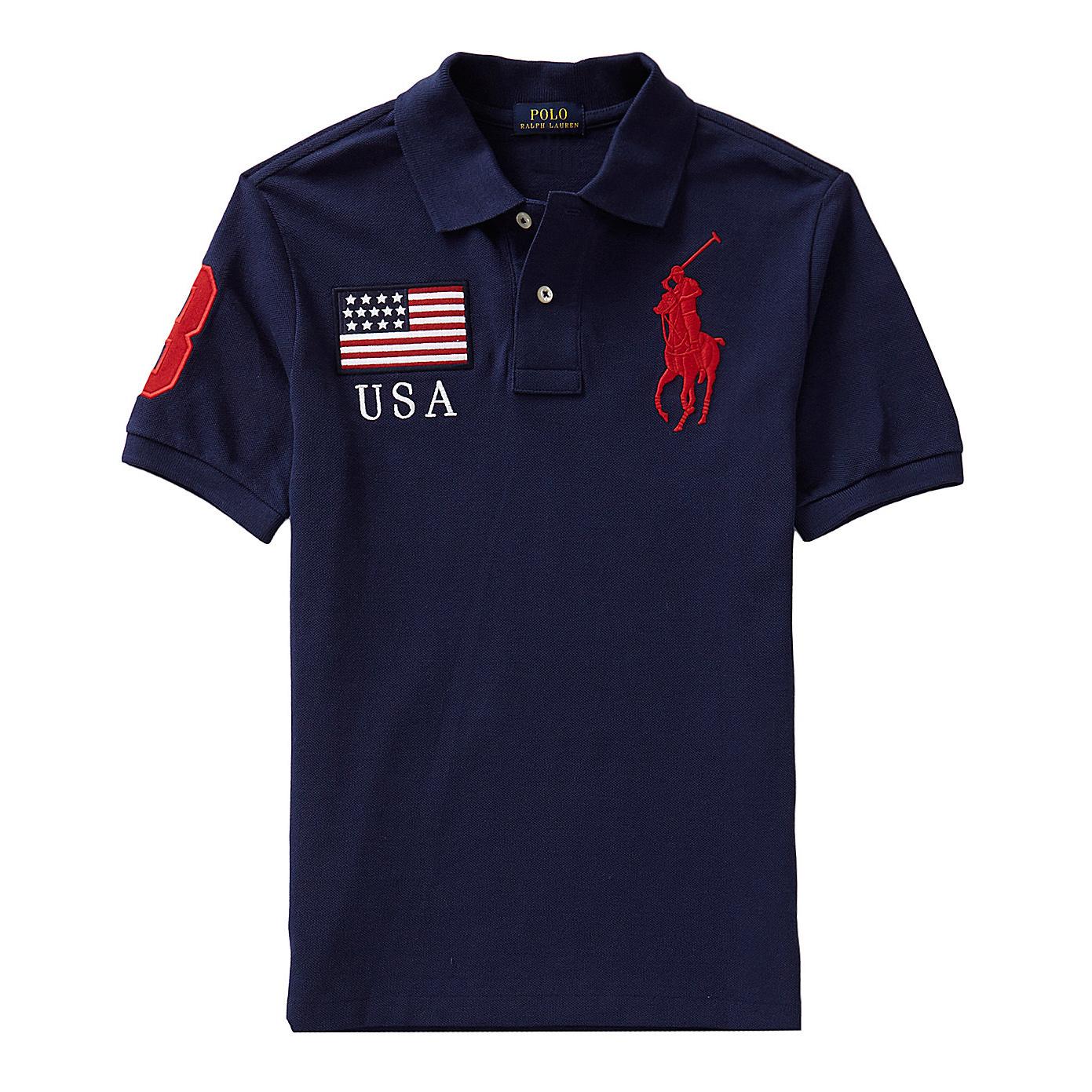 美國百分百【全新真品】Ralph Lauren Polo衫 RL 短袖 Polo 大馬 深藍色 國旗 S號 男 E769