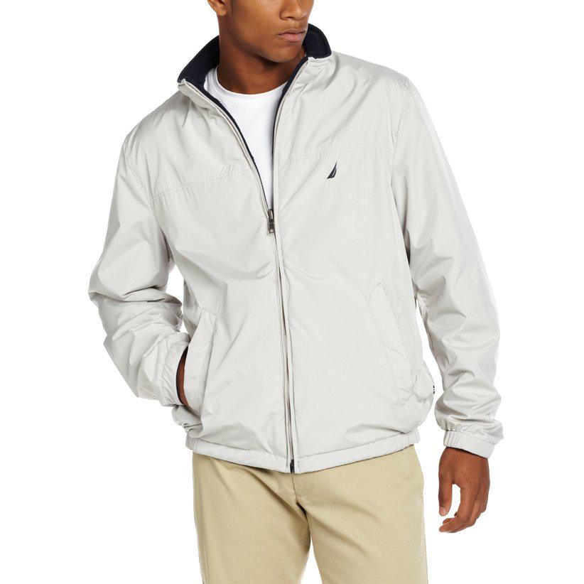 美國百分百【全新真品】NAUTICA 帆船牌 外套 運動外套 立領 夾克 風衣 休閒 刷毛 雙面 S M號 E795