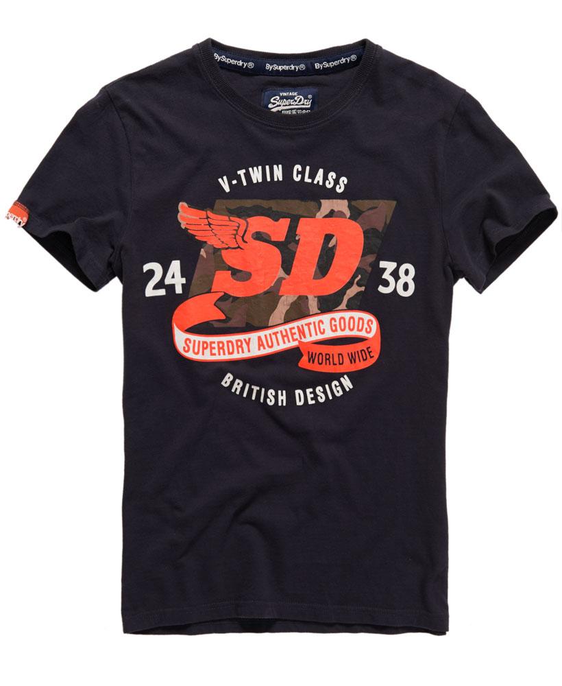 美國百分百【Superdry】極度乾燥 T恤 上衣 T-shirt 短袖 短T 水洗 圓領 迷彩 深藍 大尺碼 E692