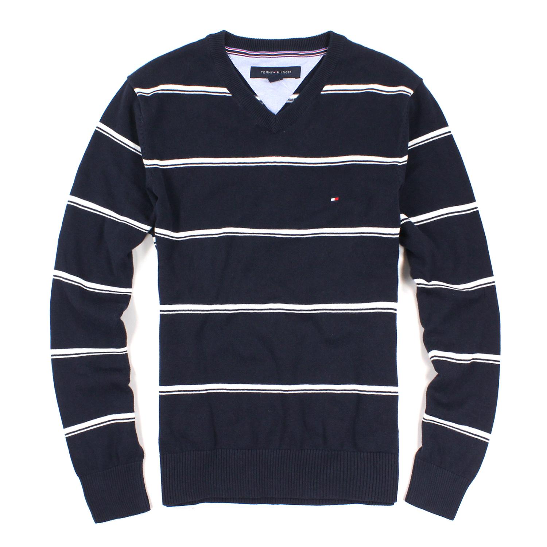 美國百分百【全新真品】Tommy Hilfiger 針織衫 V領 線衫 毛衣 TH 男 條紋 白 深藍 S號 E802