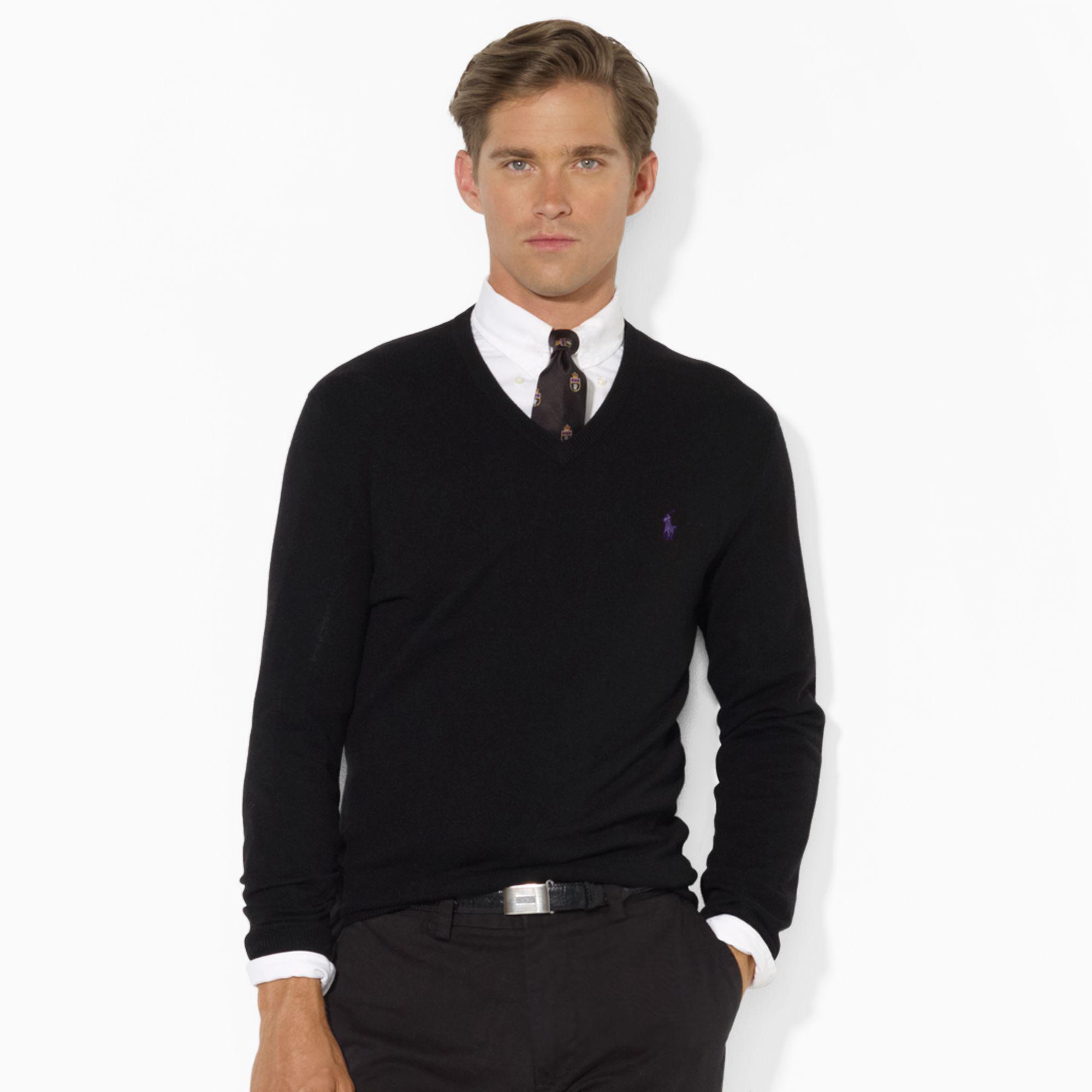 美國百分百【Ralph Lauren】RL V領 純羊毛 素面 針織衫 線衫 毛衣 POLO 小馬 黑色 M號 B022