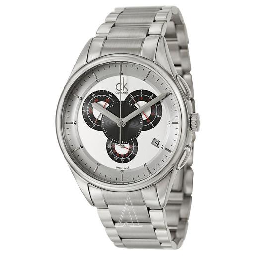 美國百分百【Calvin Klein】配件 CK 手錶 腕錶 金屬 大錶面 瑞士 石英 三眼 不鏽鋼 男 E850
