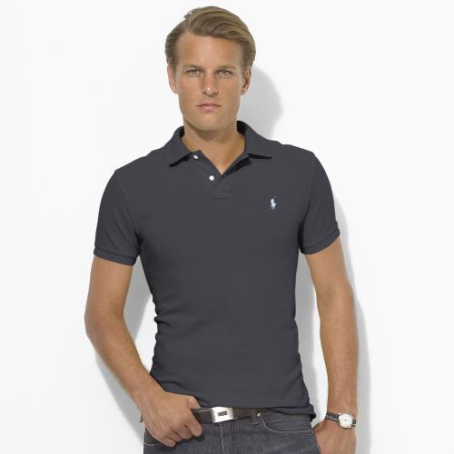 美國百分百【全新真品】Ralph Lauren 網眼 RL 男 Polo衫 短袖 上衣 深灰色 XS S號 B007