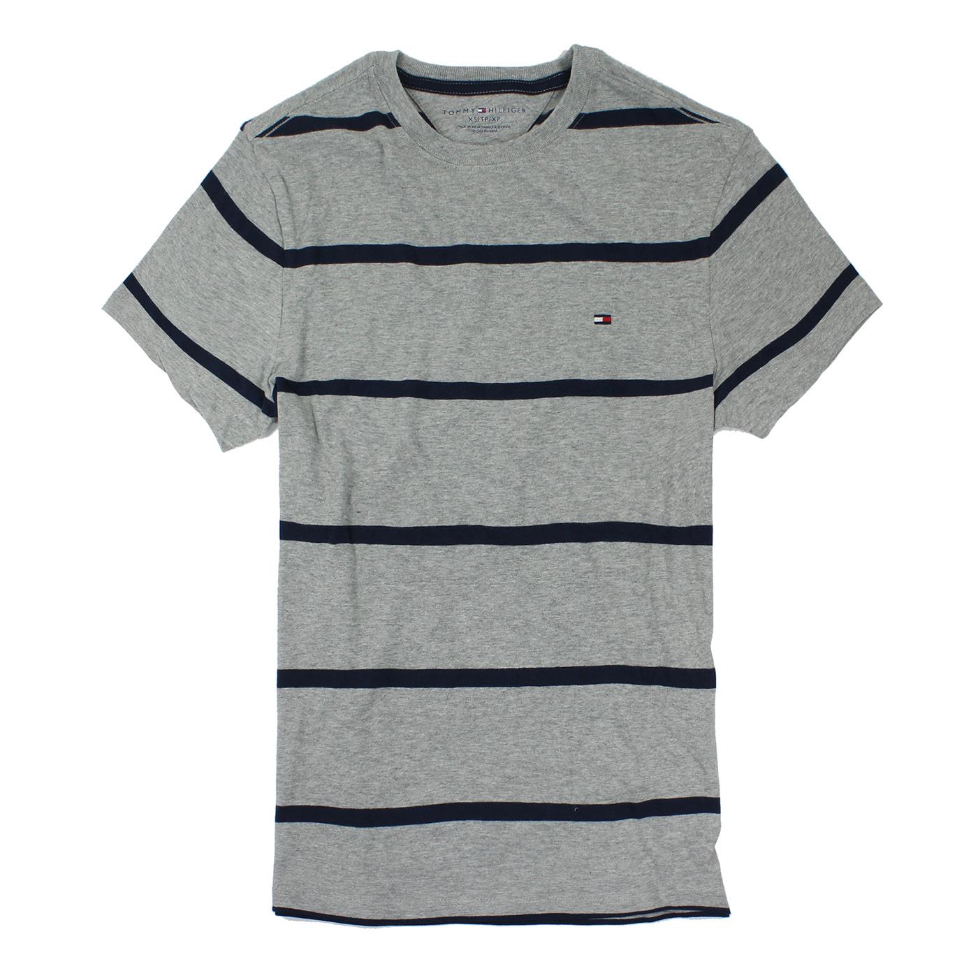 美國百分百【Tommy Hilfiger 】T恤 TH 男 圓領 T-shirt 短袖 條紋 灰色 XS號 E675