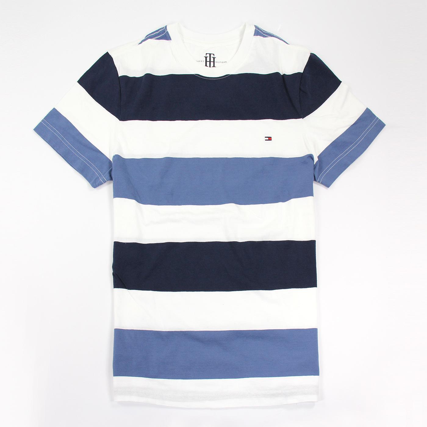 美國百分百【Tommy Hilfiger 】T恤 TH 男 圓領 T-shirt 短袖 條紋 藍 灰 白 XS E870