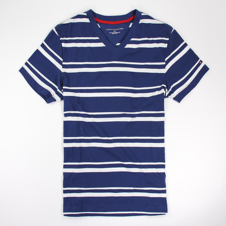 美國百分百【Tommy Hilfiger 】T恤 TH 男 V領 T-shirt 短袖 條紋 藍 白色 S M E872