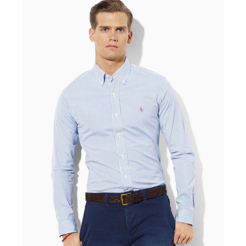 美國百分百【Ralph Lauren】長袖 襯衫 RL 男 條紋 小馬 藍色 上衣 polo 休閒 M號 E884