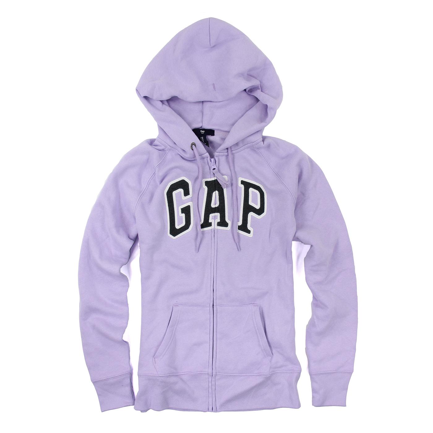 美國百分百【全新真品】GAP 外套 上衣 長袖 連帽 LOGO 貼布 現貨 女 XS號 粉紫色 E926