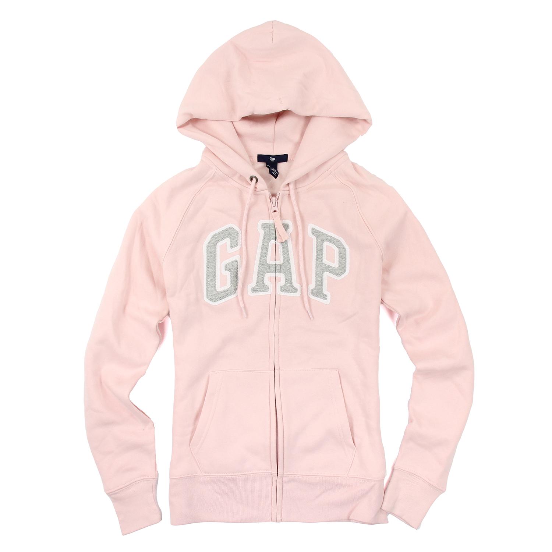 美國百分百【全新真品】GAP 外套 上衣 長袖 連帽 LOGO 貼布 現貨 女 XS號 粉紅色 E926