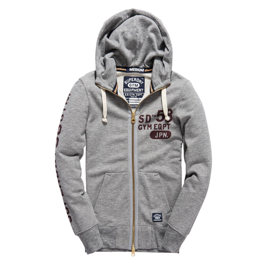 美國百分百【全新真品】Superdry 極度乾燥 連帽 外套 防風 夾克 帽T 刷毛 拉鍊 復古 S號 灰色 E929